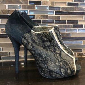 Avon gold lace open toe bootie heels